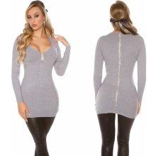 b9edc4e50c5b Koucla dámské pletené šaty se šněrováním a krajkou šedá