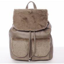 Šantel elegantní dámský batoh s kožíškem krémový hnědý 1ecf8c750c