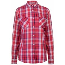 Lee Cooper Long Sleeve Check Shirt Ladies Pink/White
