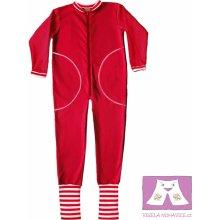 Červený spací overal s ťapičkami