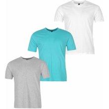 Donnay Three Pack V Neck T Shirt Mens Wht/Aqua/GreyM