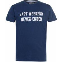 Fabric Slogan T Shirt Mens Dark Blue