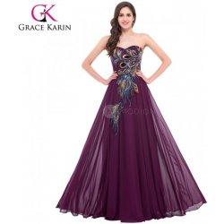 Grace Karin společenské šaty s výšivkou pavých per CL6168-2 Fialová ... 285a5f0d16