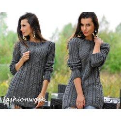 KALINA Tlustý zimní pletený svetr dámský tunika šedý alternativy ... 634e65a40e