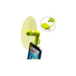 Větráček s microUSB pro mobilní telefon zelený