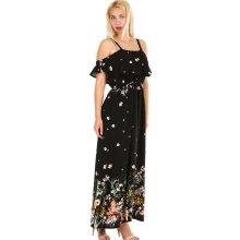 TopMode dámské letní dlouhé šaty s potiskem černá e8a81144c2
