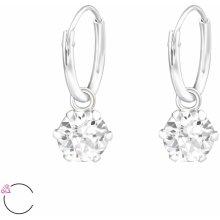 Olivie stříbrné náušnice Swarovski krystaly 0712