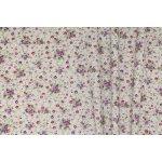 Dekorační látka- PROMESE 29, fialovo- zelené růžičky= ZBYTEK 2,40 m 140cm