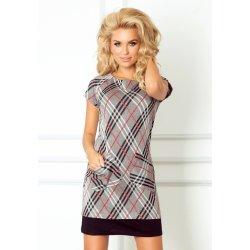 e05d74f28d0 Dámské šaty Elegantní dámské šaty s krátkým rukávem a kapsami krátké šedá