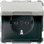 SCHUKO zásuvka 2P+E, 16A, bezšroubová, Stainless Steel, System Design, s klapkou IP20 MTN2