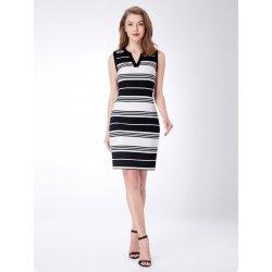 110f830284b6 Alisa Pan proužkované šaty bez rukávů a výstřihem do V AS04049WB černobílá