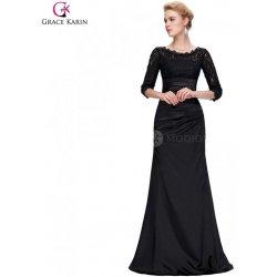 2c22aa027771 Grace Karin saténové společenské šaty s krajkou CL4524-1 Černá ...