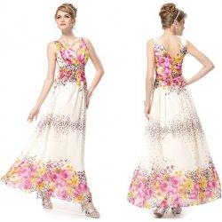767a11b49fa3 Ever Pretty Letní dámské společenské dlouhé šaty na ramínka s potiskem  květin 8126
