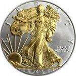 Eagle Stříbrná mince pozlacený American 1 Oz Standard
