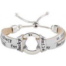 We Positive Stříbrný kožený náramek s nápisy Circle Glamour CL008 Silver