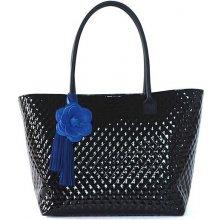 Lakovaná kabelka FIORALBA s růží černá + modrá růže