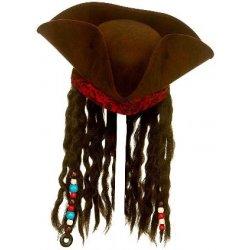 WICKED Pirátský klobouk deluxe s vlasy a šátkem Jack Sparrow b2f553f7e7