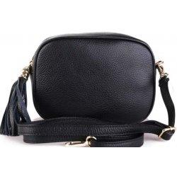 Italské luxusní malé dámské kožené kabelky crossbody Kasandra černé ... 8ce92251ae5