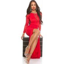 KouCla dámské plesové šaty s rozparkem červená e7c21a929f9