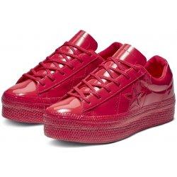 3e3535a45 Converse červené lesklé tenisky na platformě One Star OX Cherry Red ...