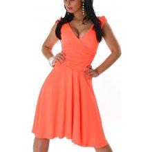 Jela London dámské šaty bez rukávů s výstřihem svítivá oranžová ca552dc1ab