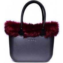 O Bag Grafite s držadlem koženka černá a lemem liška vínová