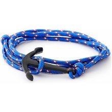 Trendhim světle modrý a černý náramek Kotva XH-B-003
