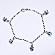 Swarovski krystaly akvamarín, kytičky, R 1297