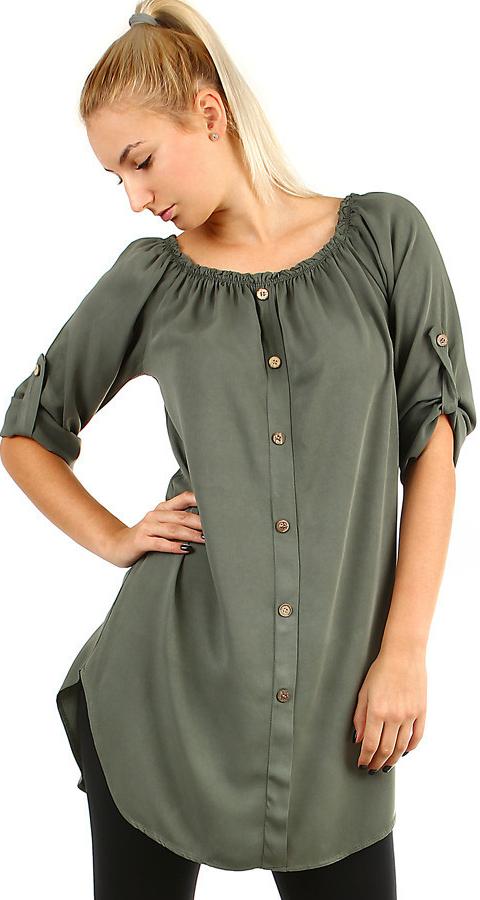 6339991aee5b YooY dámské košilové šaty s 3 4 rukávem khaki alternativy - Heureka.cz