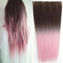 Clip in vlasy pás - ombre styl - hnědá 8 - světle růžová