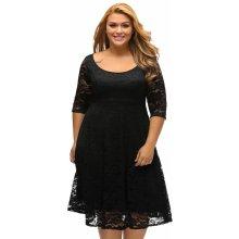 Dámské šaty pro plnoštíhlé krajkové černá 205d9eb4018