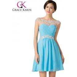 2ce743504ad Grace Karin Modré koktejlové společenské šaty CL7536-1 Modrá ...