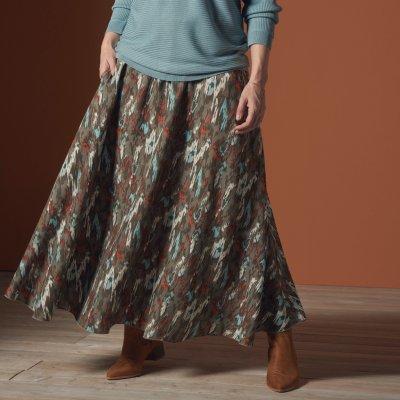 Blancheporte dlouhá sukně s etno vzorem khaki