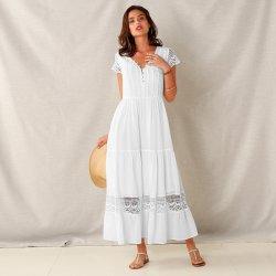Dámské šaty Blancheporte dlouhé macramé šaty s volány bílá 87e77edc6c6