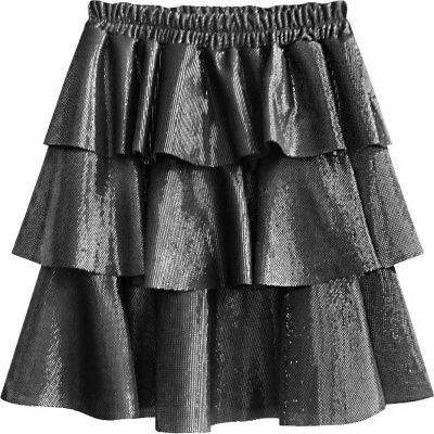 Stříbrná lesklá mini sukně (508ART) stříbrná
