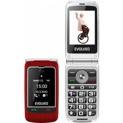 """EVOLVEO EasyPhone FG, vyklápěcí mobilní telefon 2,8"""" pro seniory s nabíjecím stojánkem (červená) (EP-750-FGR)"""