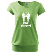 Bezvatriko.cz tričko pro těhotné Jsme těhotní zelená