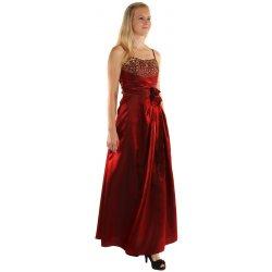TopMode Dlouhé večerní šaty se zlatou výšivkou a květinovou aplikací  12SY151 červená fb31be79be