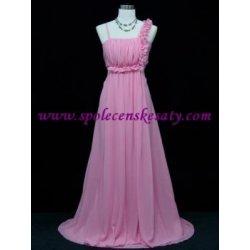 2472c2a43da Růžové dlouhé společenské svatební šaty s květinovým ramínkem pro těhotné  plnoštíhlé č. 3133