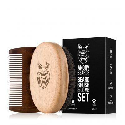 Angry Beards set kartáč a hřeben na vousy Harden