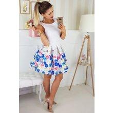 Dámské společenské a plesové šaty bez rukávů se skládanou sukní a páskem  bílá a538f789ed