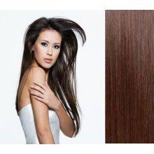KERATIN- 100% Lidské vlasy k prodloužení REMY, tmavě hnědé 46,55cm