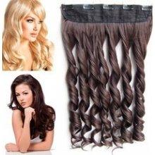 Clip in pás vlasů - lokny 55 cm - odstín 2/33 - hnědá