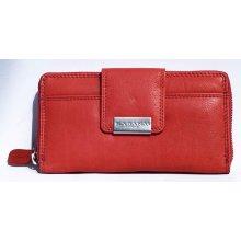 Kožená peněženka celá na zip s čirou síťkovou přihrádkou uvnitř červená