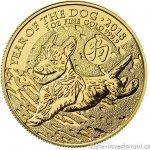 Lunární Investiční zlatá mince rok Psa 2018 British Royal Mint 1 Oz