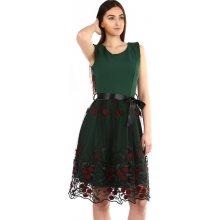 46b3519da68 YooY áčkové večerní šaty s vyšívanou sukní z tylu zelená