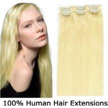 CLIP IN (klipy) pravé vlasy remy 50cm odstín 613 nejsvětlejší blond 6 částí 36g