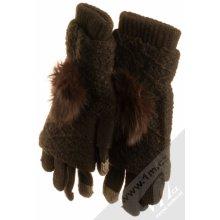 b40dd371f1a URan Multiway 2in1 Women Touch pletené rukavice s bambulkou pro kapacitní  dotykový displej tmavě hnědá dark