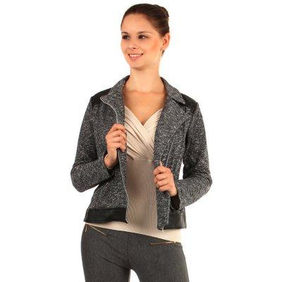 YooY melírované sako s koženkovými detaily černá