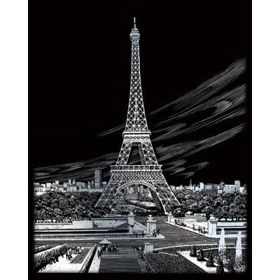 Škrabací obrázek ENGRAVING ART STŘÍBRNÝ Eiffelova věž v Paříži